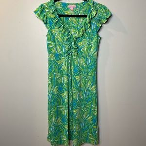 Lilly Pulitzer Womens XS Dress Blue Green Floral
